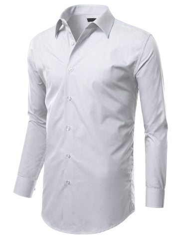 White Slim Fit Dress Shirt w/ Reversible Cuff (Big & Tall Available)