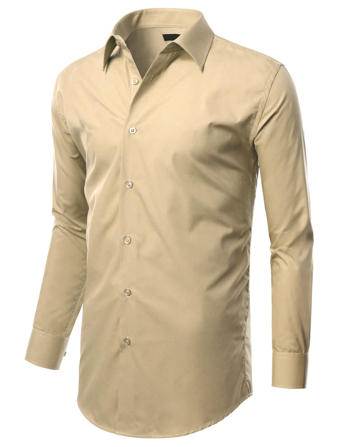 TC023BEIGE Beige Slim Fit Dress Shirt w/ Reversible Cuff (Big & Tall Available)- MONDAYSUIT