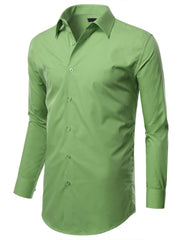 TC05OLIVE Olive Slim Fit Dress Shirt w/ Reversible Cuff (Big & Tall Available)- MONDAYSUIT