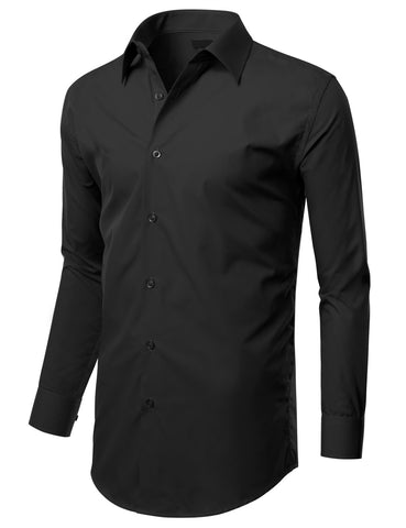 Black Slim Fit Dress Shirt w/ Reversible Cuff (Big & Tall Available)