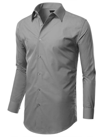 Light Gray Slim Fit Dress Shirt w/ Reversible Cuff (Big & Tall Available)