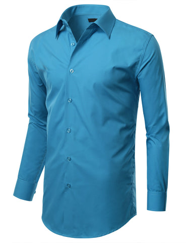 Turquoise Slim Fit Dress Shirt w/ Reversible Cuff (Big & Tall Available)