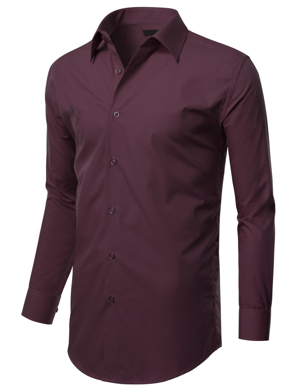TC617PLUM Plum Slim Fit Dress Shirt w/ Reversible Cuff (Big & Tall Available)- MONDAYSUIT