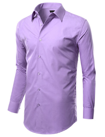 Lavender Slim Fit Dress Shirt w/ Reversible Cuff (Big & Tall Available)