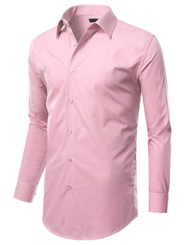 Pink Slim Fit Dress Shirt w/ Reversible Cuff (Big & Tall Available)