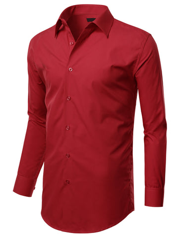 Red Slim Fit Dress Shirt w/ Reversible Cuff (Big & Tall Available)