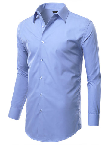 Baby Blue Slim Fit Dress Shirt w/ Reversible Cuff (Big & Tall Available)