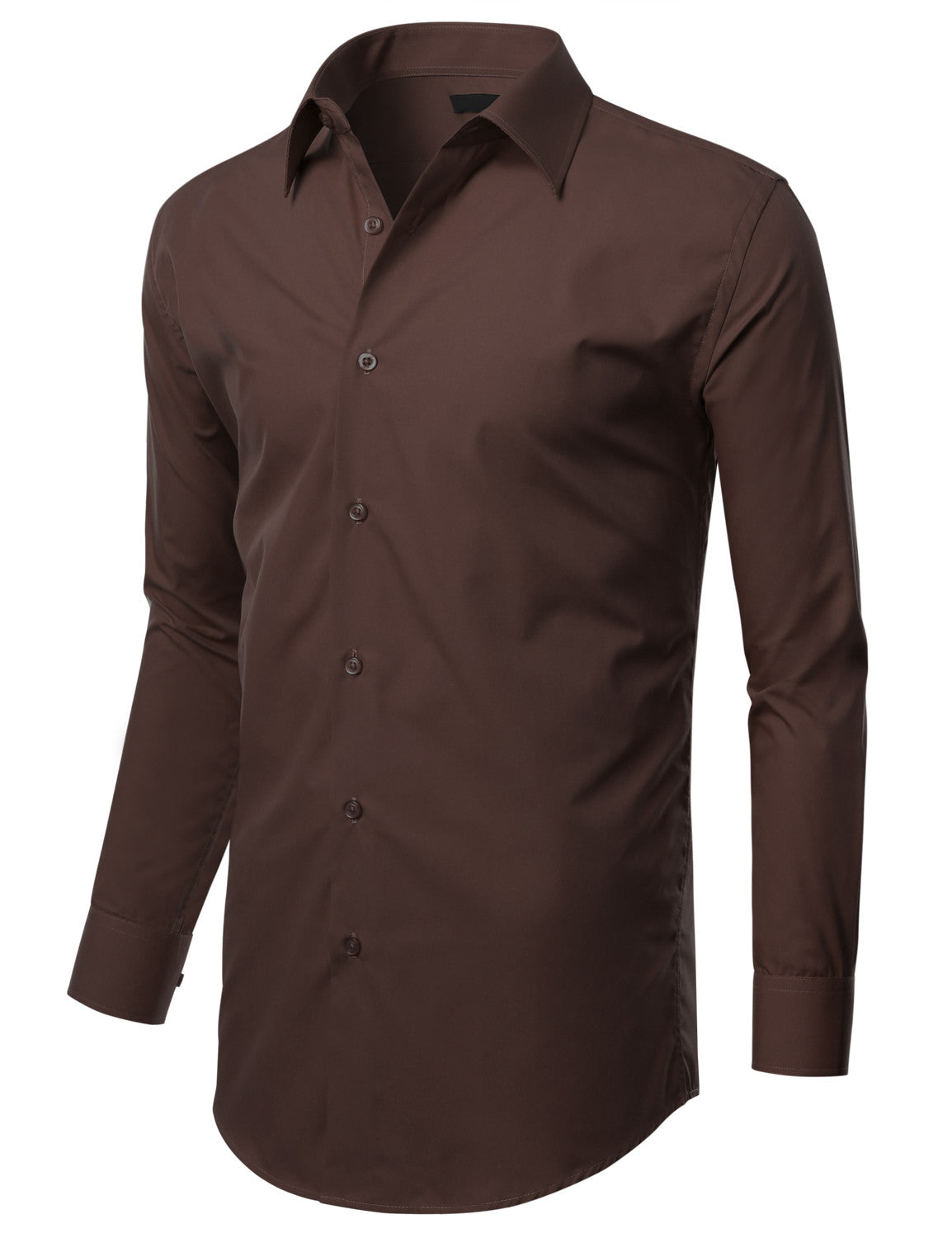 TC631BROWN Brown Slim Fit Dress Shirt w/ Reversible Cuff (Big & Tall Available)- MONDAYSUIT
