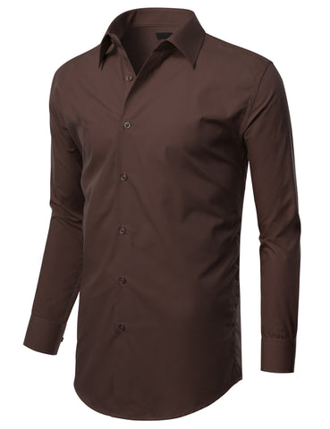 Brown Slim Fit Dress Shirt w/ Reversible Cuff (Big & Tall Available)