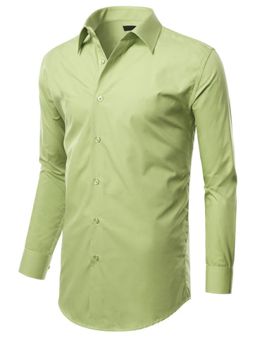 Lime Slim Fit Dress Shirt w/ Reversible Cuff (Big & Tall Available)