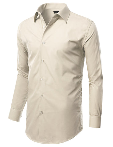 Off White Slim Fit Dress Shirt w/ Reversible Cuff (Big & Tall Available)