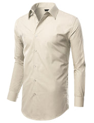 TC634OFFWHITE Off White Slim Fit Dress Shirt w/ Reversible Cuff (Big & Tall Available)- MONDAYSUIT