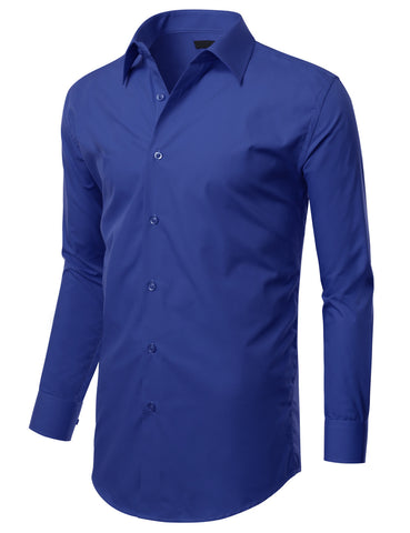 Royal Blue Slim Fit Dress Shirt w/ Reversible Cuff (Big & Tall Available)