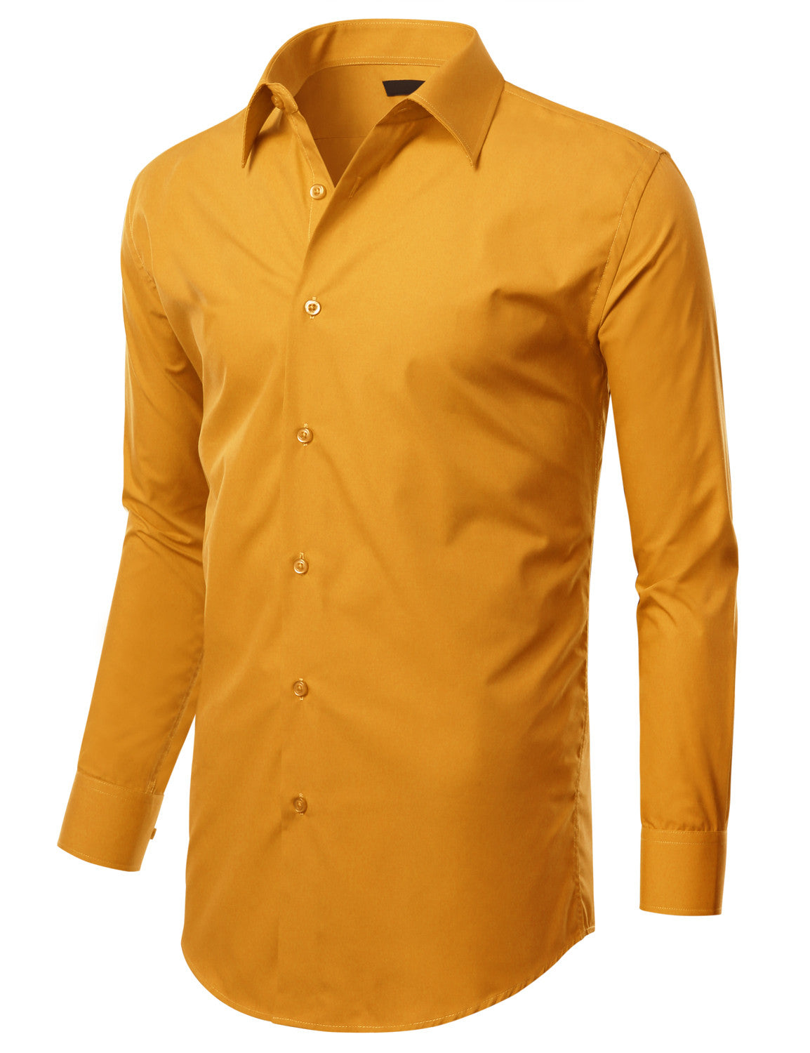 TC637MUSTARD Mustard Slim Fit Dress Shirt w/ Reversible Cuff (Big & Tall Available)- MONDAYSUIT