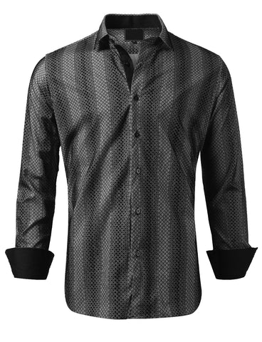 Casual Slim Fit Velvet Patterned Button Down Shirt