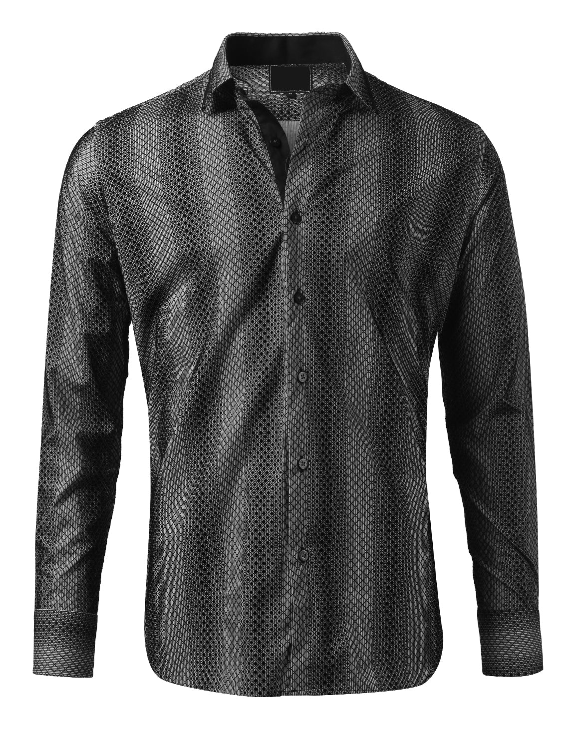 Casual Slim Fit Velvet Patterned Button Down Shirt - MONDAYSUIT