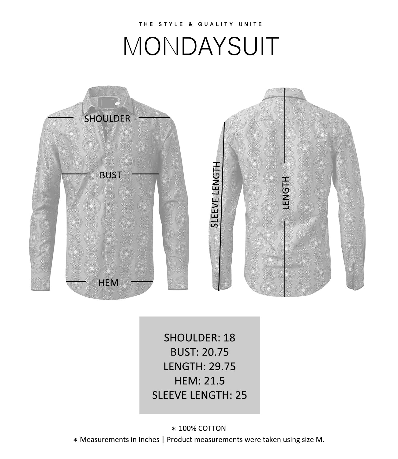 Casual Slim Fit Intricate Pattern Button Down Shirt - MONDAYSUIT