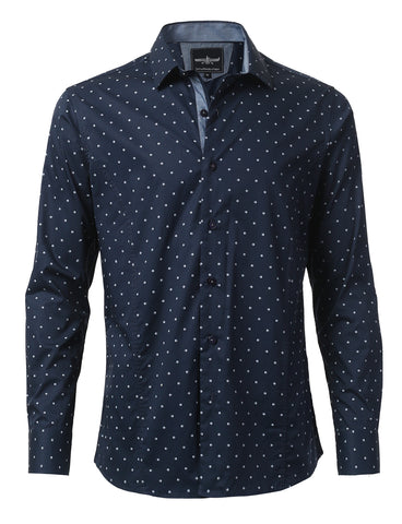 Casual Slim Fit Polka Dot Button Down Shirt