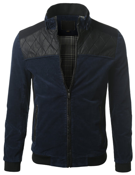BLUE Slim Fit Leather Trim Jacket with Detachable Hood- MONDAYSUIT