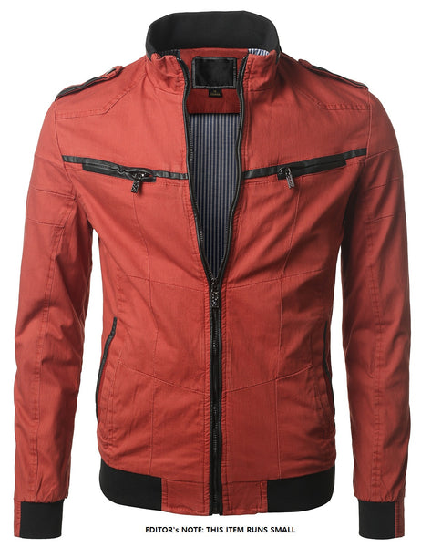 RED Slim Fit Lightweight  Zip Jacket- MONDAYSUIT