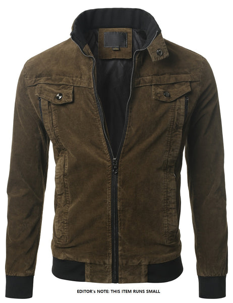 KHAKI Standing Collar Zip Jacket- MONDAYSUIT