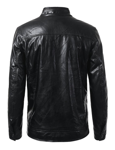 Regular Fit Casual Full Zip Up Closure Leather Jacket