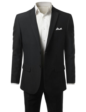 Solid Black Modern Fit 2 Piece Suit