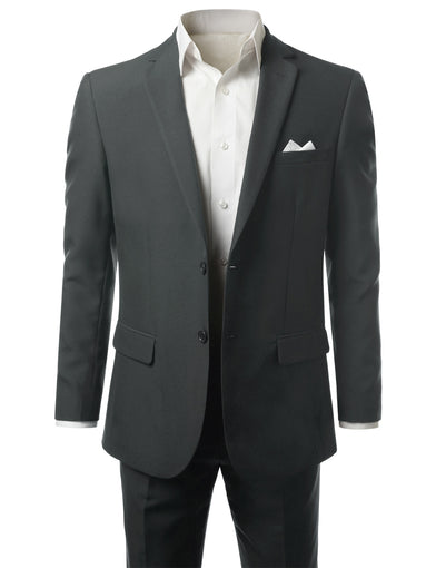 Solid Charcoal Modern Fit 2 Piece Suit