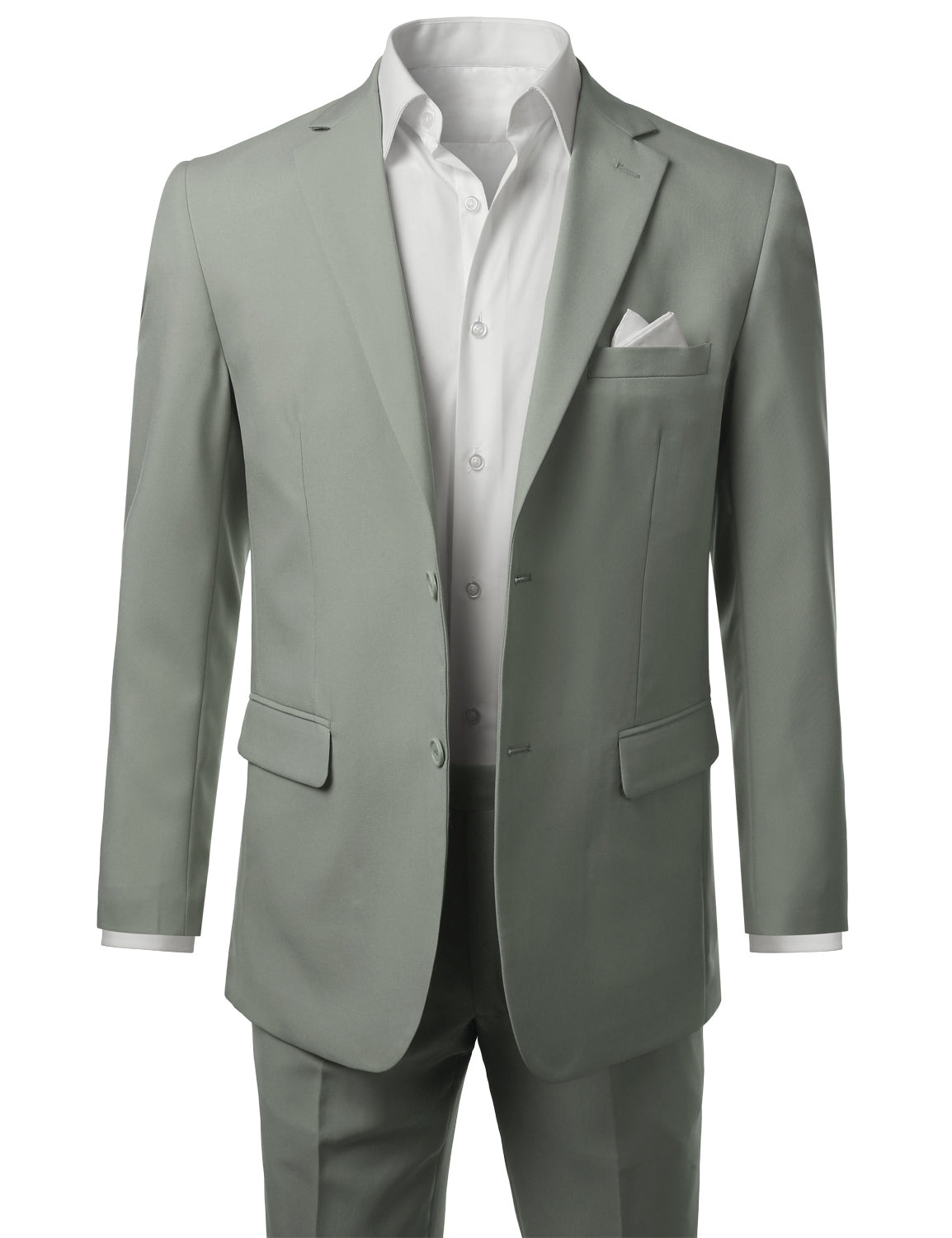 Men's Lightgrey 2 Piece Modern Fit Solid 2 Button Blazer Trousers