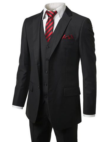 Solid Black Modern Fit 3 Piece Suit