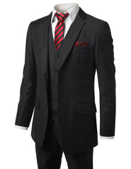 BLACK Solid Modern Fit 3 Piece Suit- MONDAYSUIT