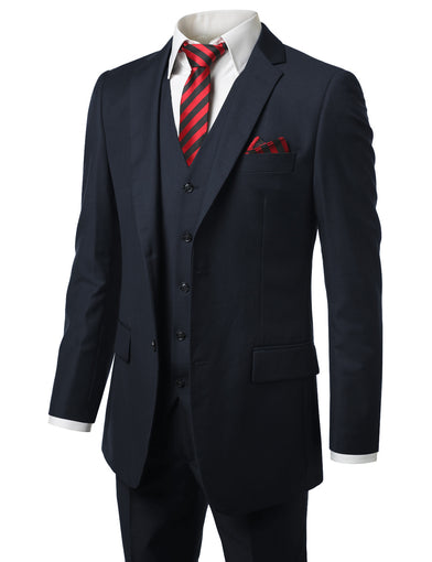 Solid Navy Modern Fit 3 Piece Suit