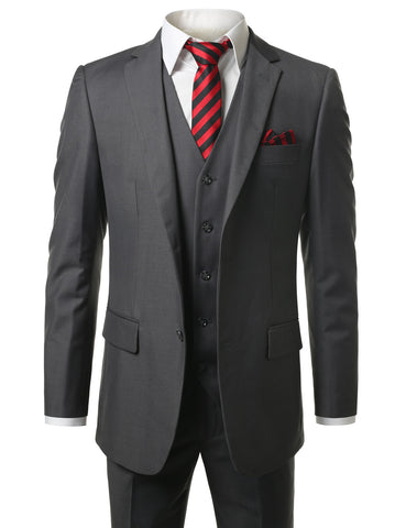 Solid Charcoal Modern Fit 3 Piece Suit