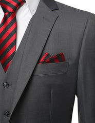 CHARCOAL Solid Modern Fit 3 Piece Suit- MONDAYSUIT