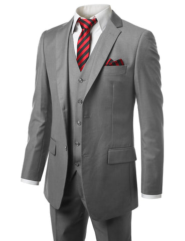 Solid Gray Modern Fit 3 Piece Suit