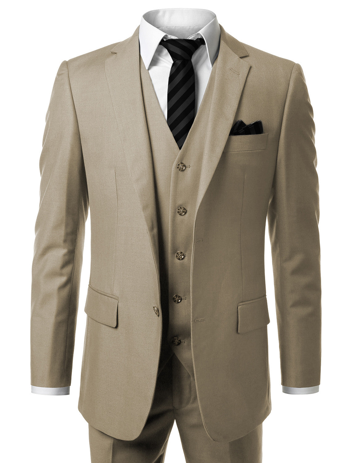 BEIGE Solid Modern Fit 3 Piece Suit- MONDAYSUIT