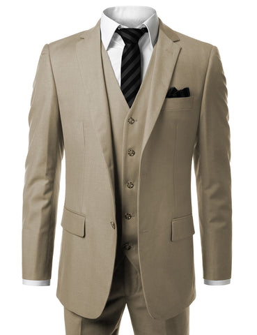 Solid Beige Modern Fit 3 Piece Suit