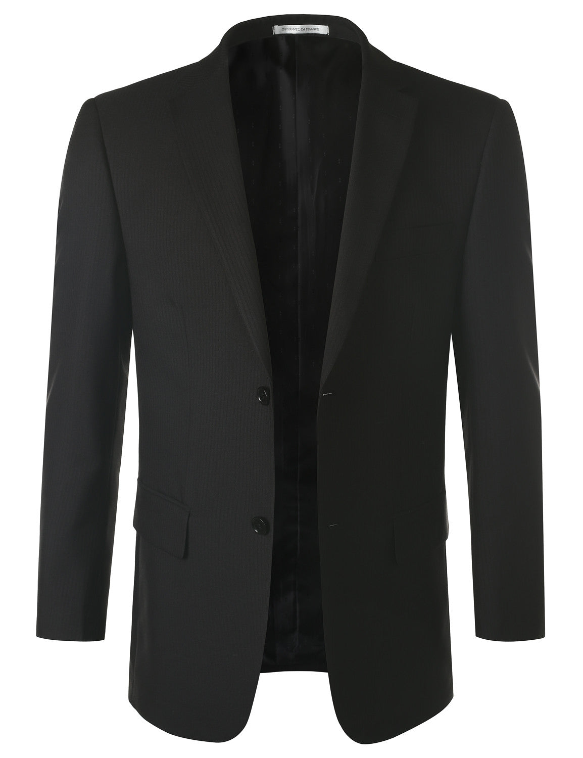 01BLACK Striped Black Modern Fit 2 Piece Suit- MONDAYSUIT