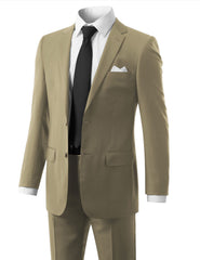 BEIGE Solid Beige Modern Fit 2 Piece Suit- MONDAYSUIT