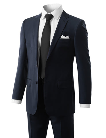 Solid Blue Modern Fit 2 Piece Suit