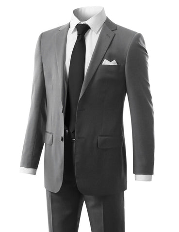 Solid Gray Modern Fit 2 Piece Suit