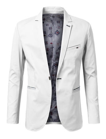 Regular Fit Casual 1 Button Patched Blazer