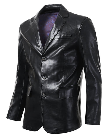 Regular Fit Casual 2 Button Leather Blazer