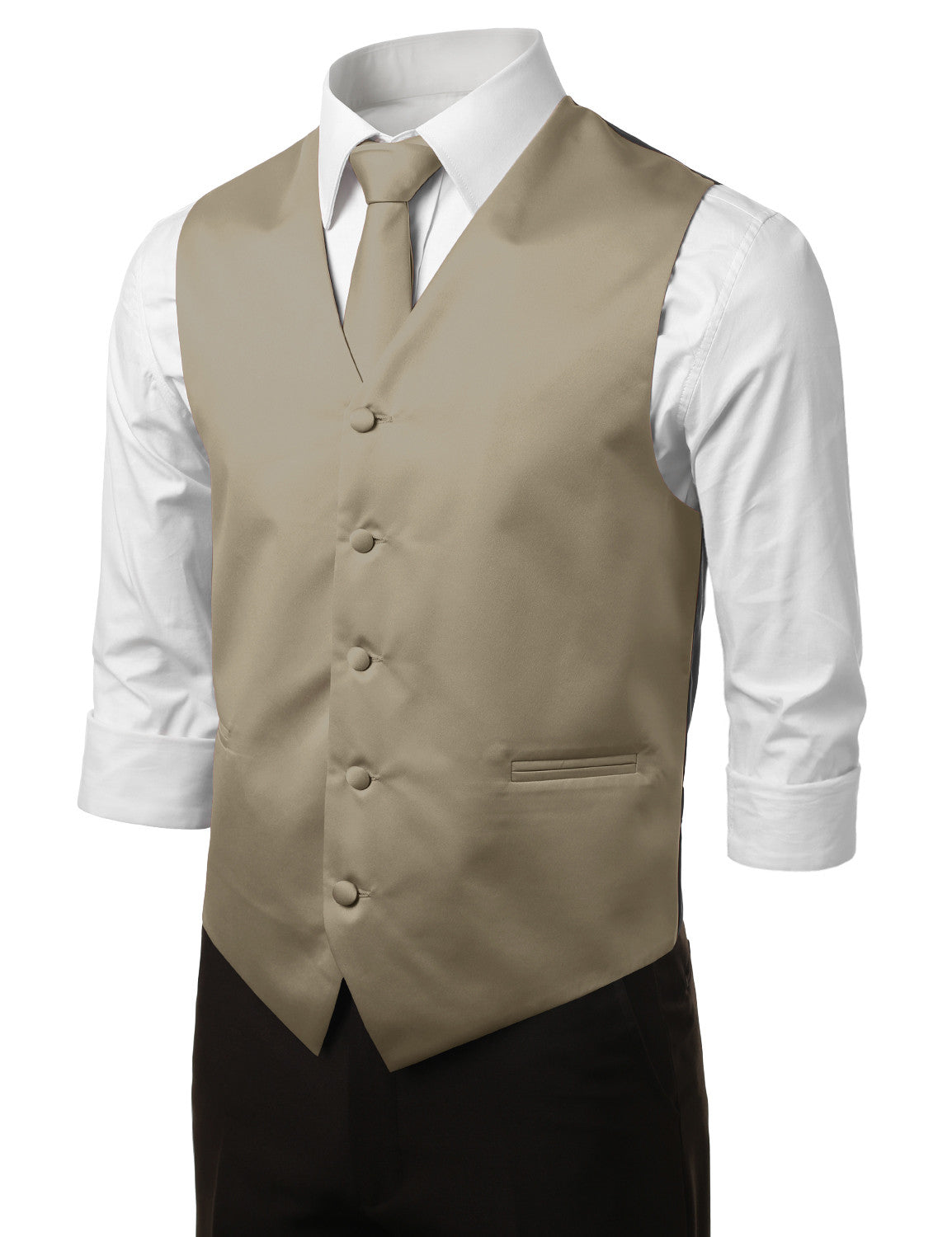 BEIGE14 Formal Tuxedo 3 Piece Vest Set (Vest, Necktie, Pocket Square)- MONDAYSUIT