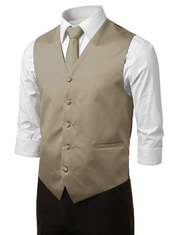Beige Formal Tuxedo 3 Piece Vest Set (Vest, Necktie, Pocket Square)