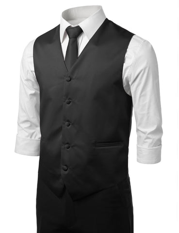 Black Formal Tuxedo 3 Piece Vest Set (Vest, Necktie, Pocket Square)