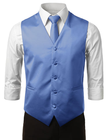 Blue Formal Tuxedo 3 Piece Vest Set (Vest, Necktie, Pocket Square)