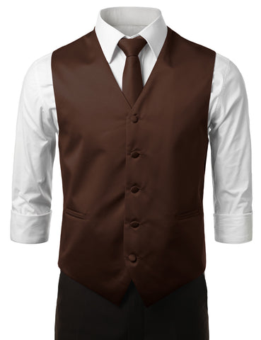 Brown Formal Tuxedo 3 Piece Vest Set (Vest, Necktie, Pocket Square)