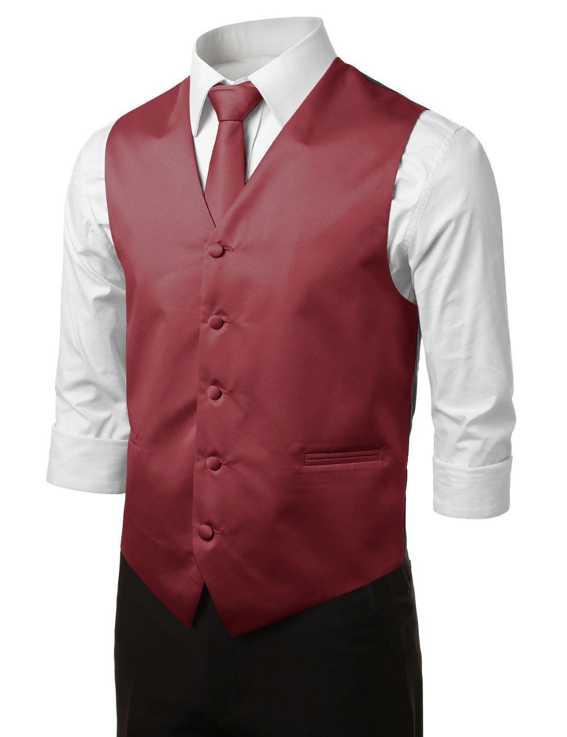 BURGUNDY23 Formal Tuxedo 3 Piece Vest Set (Vest, Necktie, Pocket Square)- MONDAYSUIT