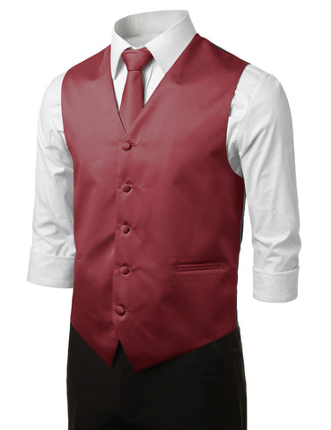 Burgundy Formal Tuxedo 3 Piece Vest Set (Vest, Necktie, Pocket Square)